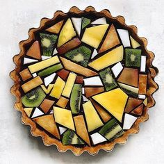 Classic lemon tart with a blueberry layer. Topped with tessellated fruit design…. Classic lemon tart with a blueberry layer. Topped with tessellated fruit design. Cute Food, Yummy Food, Just Desserts, Dessert Recipes, Food Design, Design Ideas, Food Presentation, Creative Food, Food Art