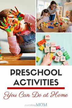 Are you looking for some fun preschool activities you can do at home with your kids? We have a huge list of activities you and your kids will have fun doing. 3 Year Old Activities, Preschool Science Activities, Gross Motor Activities, Preschool Projects, Craft Projects For Kids, Easy Crafts For Kids, Learning Activities, Preschool Activities, Jokes For Kids