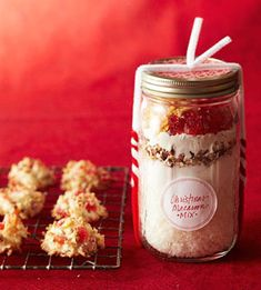 macaroon ingredients in a jar for 30 cookies  http://www.bhg.com/recipe/cookies/christmas-macaroon-mix/