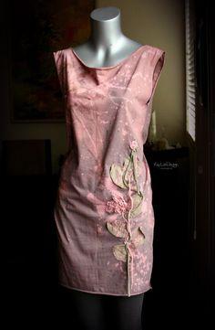 Bleach treated cotton jersey dress / Lace dress - KD114 SMALL
