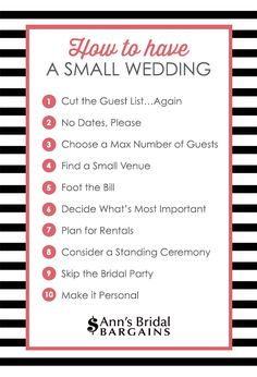 34edb102e 1. Cut the Guest List…Again A small wedding should only include your closest