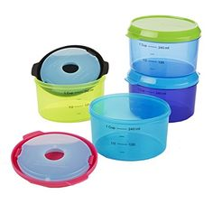 Fit  Fresh Kids 1Cup Chilled Containers Set of 4 Reusable Portion Control Containers with Removable Ice Packs BPAFree FreezerMicrowaveDishwasher Safe * This is an Amazon Affiliate link. Click image for more details.
