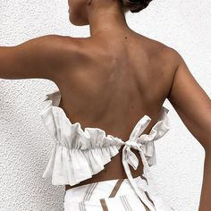 Off Shoulder Crop Top Women Summer Backless Shell Ruffle Lace Up Sleeveless Sexy Tee Ruffles Beach Club Solid Cropped T Shirt Bohemian Blouses, Backless Top, Tee T Shirt, Off Shoulder Crop Top, Summer Crop Tops, Ruffle Shirt, Party Fashion, Ideias Fashion, Casual