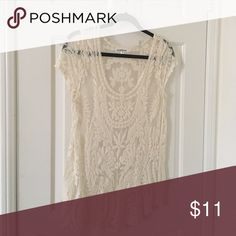 Lace Crotchet Top Embroidered lace top. Perfect for a music festival or as a bathing suit cover up. Anthropologie Tops Tunics