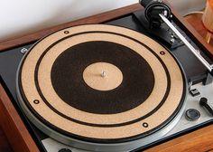 Handmade Engraved Cork Anti-Static Turntable Slipmat - Speaker Cone