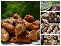 Baconba tekert csirkemell csíkok - Keva Blog Chicken Wings, Bacon, Cooking, Food, Recipies, Kitchen, Essen, Meals, Yemek