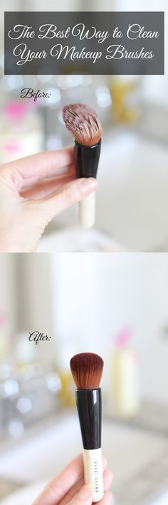 The absolute BEST way to clean your makeup brushes. Mine are caked with foundation and rouge! #makeup #diy #cleaners