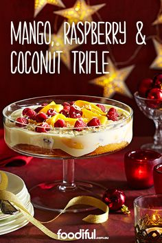 You'll love this tropical take on the trifle! With a dash of white rum, fresh fruit and Greek yoghurt, this makes one festive dessert. This trifle recipe takes 2 hrs and 15 mins and serves 10