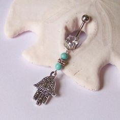 Fatima Hand and Genuine Gemstone Dangle Belly Button Ring
