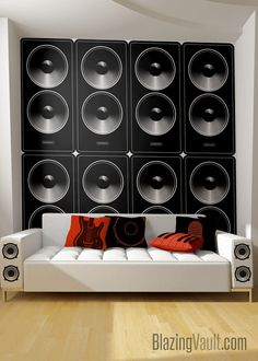 Large Stereo Speakers Wall Decal Dance Party DJ Audio Band Amps Rock Jazz Hip Hop Blues Punk Rap Country R&B Classical Music by BlazingVault