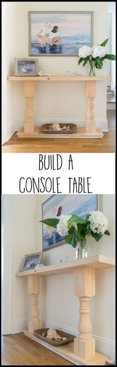 I can check this off of my DIY bucket list! This easy DIY console table was the first piece of furniture I ever tried to build. Step by step, illustrated tutorial with recommended supplies and tools. A perfect spruce up for my home decor. Easy Wood Projects, Diy Furniture Projects, Easy Woodworking Projects, Woodworking Plans, Furniture Design, Easy Home Decor, Handmade Home Decor, Diy Home, Diy Sofa Table