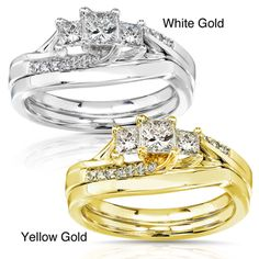 @Overstock.com - Annello 14k Gold 1/2ct TDW Princess-cut Diamond Bridal Ring Set (H-I, I1-I2) - Princess-cut diamond 3-stone bridal ring set14-karat white/ yellow gold jewelryClick here for ring sizing guide  http://www.overstock.com/Jewelry-Watches/Annello-14k-Gold-1-2ct-TDW-Princess-cut-Diamond-Bridal-Ring-Set-H-I-I1-I2/5166092/product.html?CID=214117 $791.99
