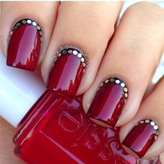 Red Nails w/ Black across the cuticles and glitter flakes. Simply classy nails. | @badgirlnails via Instagram