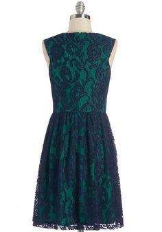 Illustrious Illustrator Dress. As lovely as the imagery in your latest childrens book, this lacy, navy-blue dress is the perfect choice for todays awards ceremony. #wedding #bridesmaid #modcloth