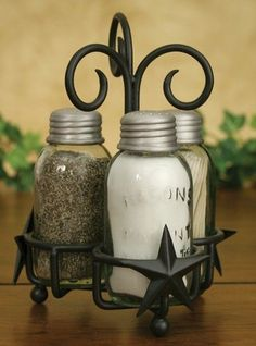 Barn Star Mason's Patent Salt Pepper Toothpick Caddy (Rustic Brown) - Mason Jar Shoppe
