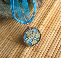 ✿ BIRD ON TREE NECKLACE ✿ TIFFANY STAINED GLASS from DARE TO DREAM