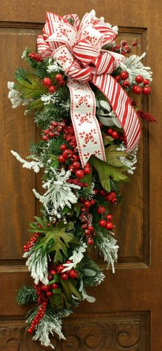 Christmas Wreath Swag Candy Cane Ribbon by FromAngelstoZebras, $39.95