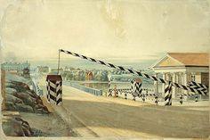 Magnus von Wright 1837. Hämeen tulli Pitkänsillan pohjoispäässä. Akvarelli. Helsinkiin vievät tiet päättyivät kaupungin rajalla tulliin. Niitä olivat Hämeen tulli Vironniemelle 1640 siirrettyyn Helsinkiin johtavan sillan luona, aluksi sen eteläpuolella, ja Espoon tulli, joka vielä 1700-luvulla sijaitsi nykyisen Esplanadin Kauppatorin puoleisessa päässä. Venäjän vallan aikana tullit varustettiin puomilla ja vartiokopilla, koska Helsingissä oli venäläistä sotaväkeä.