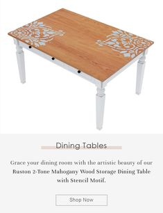 Grace your dining room with the artistic beauty of our Ruston 2-Tone Mahogany Wood Storage Dining Table with Stencil Motif. #diningroom #interiordesign #homedecor #interior #diningroomdecor #diningtable #furniture #home #design #decor #kitchen #homedesign #interiors #diningroominspo #furnituredesign #interiordesigner #diningroomdesign #dining #decoration #kitchendesign #table #interiorstyling #customfurniture #largetable #solidwood #diningroomdecor #storagetable #drawer #storagediningtable Dining Table With Storage, Solid Wood Dining Table, Dining Room Table, Wine Bar Cabinet, Hardwood Table, Large Table, Wood Storage, Dining Room Design, Custom Furniture
