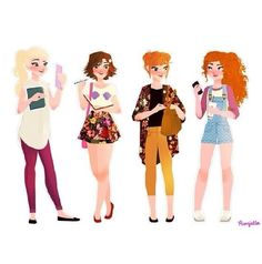 Elsa, anna, Merida, and rapunzel <3