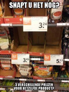 3 verschillende prijzen voor hetzelfde product....of toch niet?