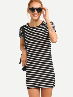 Black White Striped Shift Dress Mobile Site