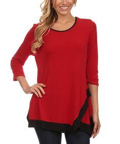Look what I found on #zulily! Black & Red Layered-Hem Scoop Neck Tunic - Women & Plus #zulilyfinds