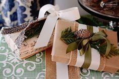 beautiful natural rustic Christmas wrapping