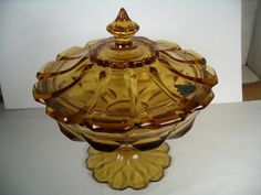 """Fenton Amber Glass covered Compote, 7.5""""H x 7 3/8""""D. 12/6/17 Amber Glass, Candy Dishes, Antique, Cover, House, Home Decor, Decoration Home, Home, Room Decor"""