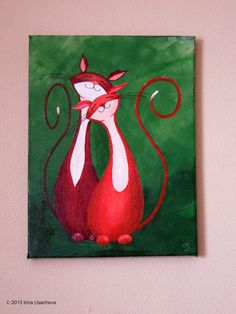 "cat art NaturelandsAndCo, Ucacheva-Watkins, ""Cuddling Cats in Red"" Original Cat Painting Fantasy Cats Art Cats"