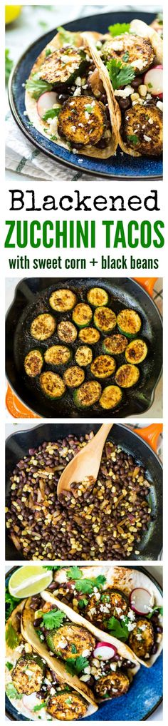 Blackened Zucchini Tacos - LOADED with black beans, fresh veggies, and cheese. Quick, easy, healthy and full of flavor - even meat lovers approve! Recipe at wellplated.com @Well Plated