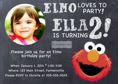 Sesame Street Elmo Chalkboard Boy or Girl Digital Printable Birthday Party Invitation or Postcard on Etsy, $8.00