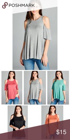 Gray Cold Shoulder Short Sleeve Tunic Top S M L Gray short sleeve cold shoulder tunic top, 95% Rayon 5% Spandex.  Available in 5 colors !!  Available in size small, medium, large. No trades, price firm unless bundled.  BUNDLE 3 OR MORE ITEMS FOR 15% OFF!!! Boutique Tops Tunics