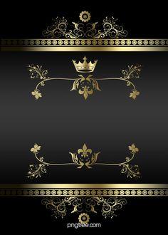Atmospheric Black Gold Frame Lines Business Background - Damask Gold Wallpaper Phone, Gold Wallpaper Background, Retro Background, Crown Background, Banner Background Images, Background Images Wallpapers, Glitter Frame, Rose Gold Frame, Engagement Invitation Cards