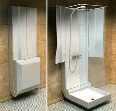 narrow french doors   Folding Shower by French company Folding Shower in a Minimalist ...