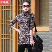 Invierno Nueva Corea damas yardas más grandes del collar de terciopelo grueso en alto la camisa imprimación mujer de manga larga T-shirt leopardo ropa de abrigo