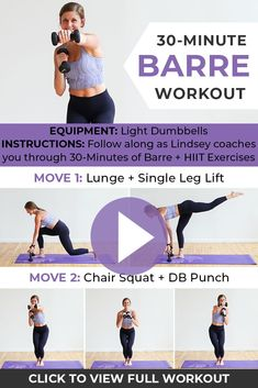 Build lean muscle + burn calories with this BARRE WORKOUT! I'll coach you through each strength training and cardio exercise, and you'll get a total body burn in just 30 minutes. Barre Workout Video, Cardio Barre, 30 Minute Workout, Workout Videos, Pilates Workout, Pop Pilates, Pilates Video, Pilates Yoga, Boxing Workout