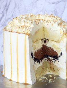Chocolate Banana Coconut Pie Layered Cake Recipe Perfect Cake Recipe, Pie Flavors, Layer Cake Recipes, Banana Coconut, Pie Cake, Banana Cream, Secret Recipe, Cake Ingredients, Cream Pie