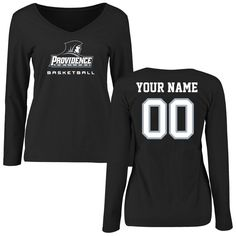 Providence Friars Women's Personalized Basketball Slim Fit Long Sleeve T-Shirt - Black