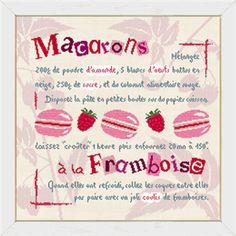 Fiche de broderie au point de croix de Lilipoints Macarons à la Framboise G009 Macarons, Rubrics, Le Point, Cross Stitching, Lily, Blog, Handmade, Cupcakes, Couture
