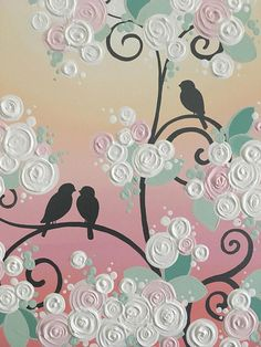 Birds on a Branch, Mint + Peach + Coral + Gray  Original Acrylic Painting on Canvas  Size: 16x20 Depth: 1.5 Color: Soft, pretty shades of pink, peach, and coral give the background the feel of a sunset. Branches and birds are a neutral gray and leaves are a modern mint. Edges: This canvas is gallery wrapped and painted grey on all the edges so there is no need to frame. Finish: Permanent, professional grade, non-yellowing satin varnish  This painting is READY TO SHIP and will be on its way…