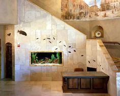 fossil tile mural and fish tank