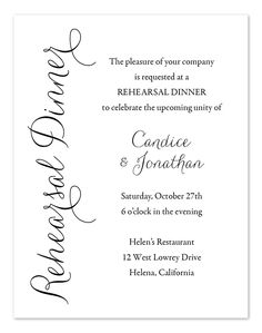 Wedding invitation sample text wedding images pinterest simply elegant rehearsal dinner invitations by invitation consultants item ic rlp 941 love how simple this is stopboris Choice Image