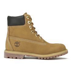 Timberland Women's 6 Inch Premium Leather Boots - Wheat (£160) ❤ liked on Polyvore featuring shoes, boots, tan, flat lace up boots, leather heel boots, tan lace up boots, waterproof boots and leather boots