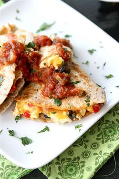 Easy & healthy! Southwestern Breakfast Quesadilla with Eggs, Black Beans & Salsa | cookincanuck.com #breakfast #quesadilla