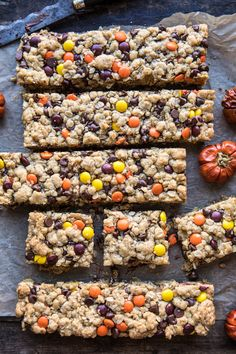 overhead photo Monster Oatmeal Chocolate Chip Cookie Bars with mini pumpkins in photo Homemade Oatmeal Cookies, Oatmeal Cookie Bars, Oatmeal Chocolate Chip Cookies, Chocolate Chips, Oatmeal Cookie Cake Recipe, White Chocolate, Oatmeal Cake, Chocolate Cake, Cookie Recipes