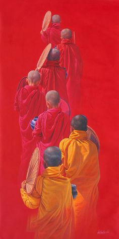 Aung Kyaw Htet was born in Myaungmya and studied at the State School of Fine Arts in Yangon. He is a devout Buddhist and grew up in a sma. Buddha Drawing, Buddha Painting, Buddha Buddhism, Buddha Art, Indian Paintings, Indian Art, Sculpture Art, Watercolor Paintings, Art Drawings
