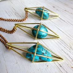 Geometric pendant necklace Turquoise  - Jewellery & Watches