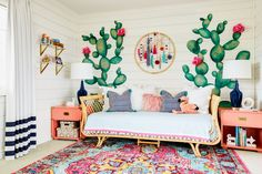 12 nursery trends for 2017 2018 room boho kinderzimmer, akze Whimsical Bedroom, Boho Chic Bedroom, Boho Room, Bedroom Decor, Bedroom Ideas, Nursery Ideas, Bedroom Rugs, Deco Cactus, Girls Bedroom Colors