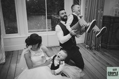 A fun family photo with the bride & groom & the kids. Weddings at Tulfarris Hotel & Golf Resort. Photographed by Couple Photography.